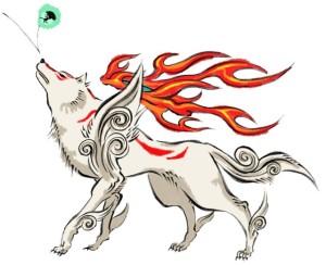 Personagem do jogo Okami, o Amaterasu (ou lobo) é uma divindade com a capacidade de criar e transformar o próprio mundo por meio da pintura em aquarela.